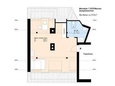 *Obersendling U-Bahn Nähe*1 Zimmer DG-Wohnung*möbliert*EBK*Duschbad mit Fenster*Keller*