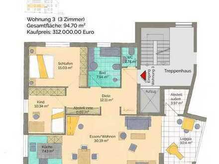 Nr. 3 Komfort-Wohnung im 1.OG mit tollem Grundriss und Südwestterrasse
