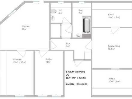 TOP sanierte 5-Raum-Wohnung in Oberplanitz