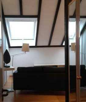 Loftartige, 4.5 m hohe ein Zimmer Wohnung in Weingarten (Baden)voll möbliert , Nähe Karlsruhe
