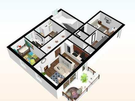 Erstbezug: zentrumsnahe, 4 Raum Wohnung mit großen Balkon, Fahrstuhl und Fußbodenheizung