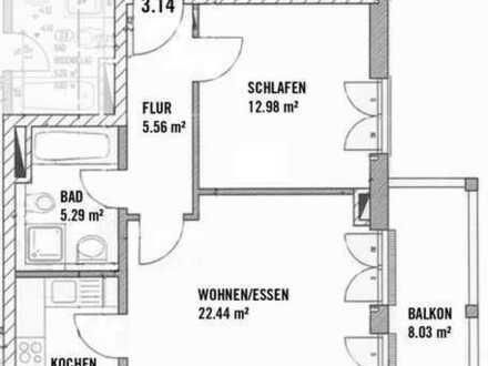 Ruhige, moderne und gepflegte 2-Zimmer-Wohnung mit Balkon und EBK in Regensburg