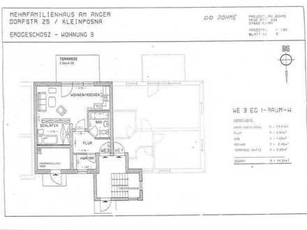Neuwertige 1-Zimmer-Wohnung mit Terrasse und Einbauküche in Leipzig-Kleinpösna