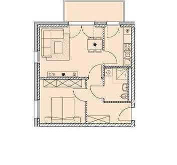 2-Zimmerwohnung mit EBK + Balkon im Erstbezug!