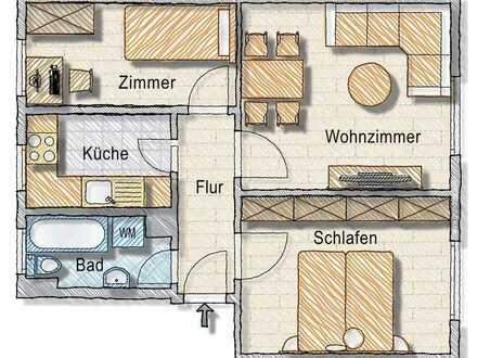 Solide geschnittene 3-Raum-WE im Vierfamilienhaus