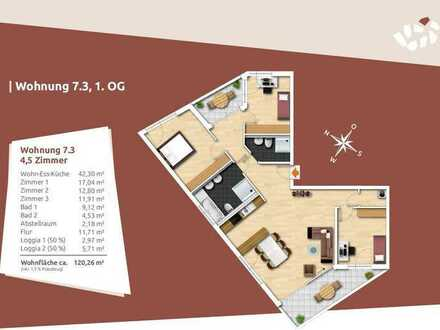 Einen Blick wert! Große 4,5-Zi.-Obergeschosswohnung mit neuem Wohnkonzept