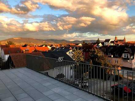 Traumwohnung mit umlaufender Dachterrasse : 2,5 Zimmer mit Einbauküche und Smarthome
