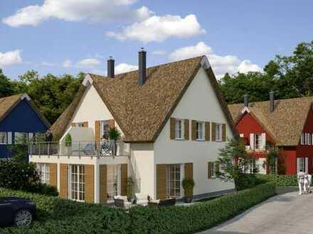 Neubau von 4 Reetdachdoppelhäusern am Breeger Bodden, Rügen
