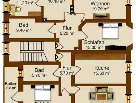 schön sanierte 6 Raum Wohnung mit Balkon in Crossen