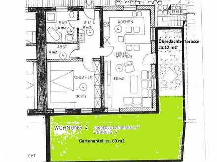 gepflegte 2-Raum-Erdgeschosswohnung mit überdachter Terasse und Einbauküche in Biberach (Kreis)