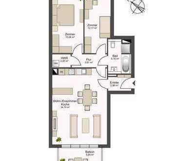 Neubau Erstbezug! - 3-Zimmer mit Balkon und großer offener Wohnküche inkl. Fußbodenheizung