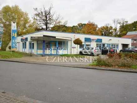 Freistehende Halle für Lager- und Ausstellungszwecke; mit Büros und Freifläche in Münster-Südost