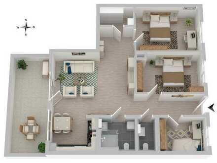 Offene Raumgestaltung! 4-Zi-Seniorenwohnung mit herrlicher Aussicht und hochwertiger Ausstattung