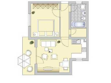 !ERSTBEZUG NACH RENOVIERUNG! 2-Zimmer Wohnung mit Terasse und seperatem Zugang