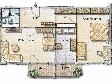 große 2-Zimmer-Wohnung mit großem Balkon