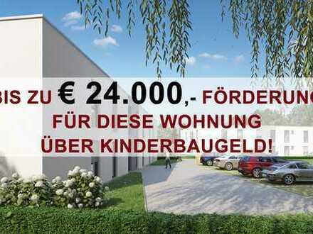 KINDERBAUGELD-geeignet. Förderung EUR 24.000,-* 4-Zi. Wohnung mit ca. 120 qm eigenem Garten!