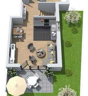Neubau: 3-Zimmer-Erdgeschoss-Maisonette-Wohnung mit Süd-West-Terrasse und Gartenanteil
