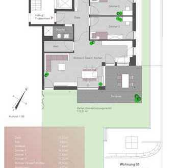 Großzügige Neubauwohnung mit Terrasse und Gartenanteil