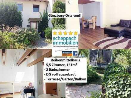 Günzburg/Ortsrand - Reihenmittelhaus, teilrenoviert + DG voll ausgebaut!
