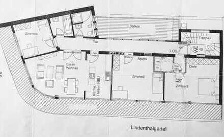 4-Zimmer-Dachgeschoss-Wohnung mit 2 Balkonen in Lindenthal, Köln (Nachmieter gesucht)