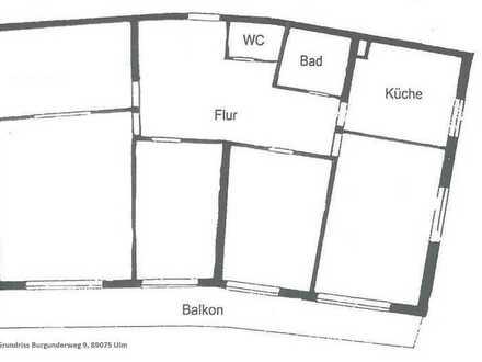 5-Zi-Whg mit Balkon und EBK am Ulmer Eselsberg (als Praxis/Büro geeignet)