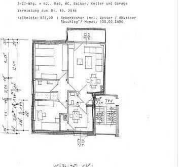 3-Zimmerwohnung + Keller, Garage und Balkon
