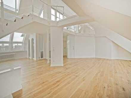 Erstbezug! Luxus-Loft mit Dachterrasse – 5 Zimmer, Kamin, Sauna, Lift, sonnig + ruhig