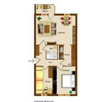 **3-Raum Wohnung zum kleinen Preis. Einbauküche möglich**