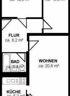 Ruhige 3-R-Wohnung, 61m², großer Südbalkon mit Fernblick, Einbauküche