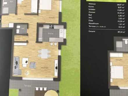 Moderne neuwertige 3-Zimmer-EG-Wohnung mit Terrasse und EBK in Malmsheim