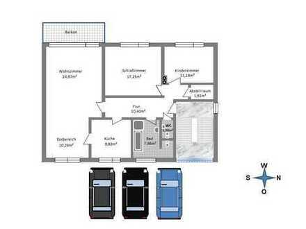 Bornheim-Waldorf; Ruhige und helle 3-Zimmerwohnung mit Balkon/Bad und Gäste-WC neu