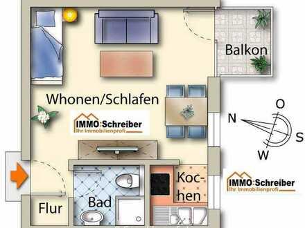 Sehr helles 1-Zimmer-Appartement mitten in der Stadt und mit großen Süd-Balkon
