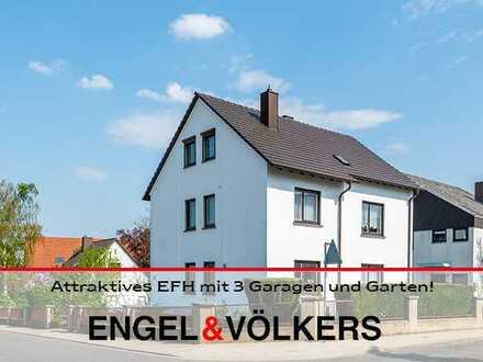 Attraktives EFH mit 3 Garagen und Garten in gefragter, zentrumsnaher Lage!