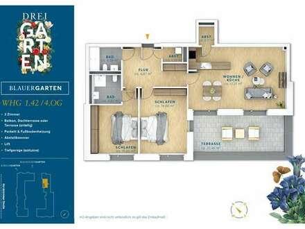 3 Zimmer Neubau-Wohnung mit Süd-West Dachterrasse.