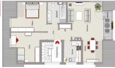 Ruhig gelegene und gepflegte 3-Zimmer-Dachgeschosswohnung (EP) mit Balkon und Garage!