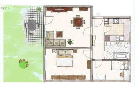 Erstbezug nach Sanierung mit Terasse stilvolle 3-Zimmer-Erdgeschosswohnung in Bad Vilbel-Gronau