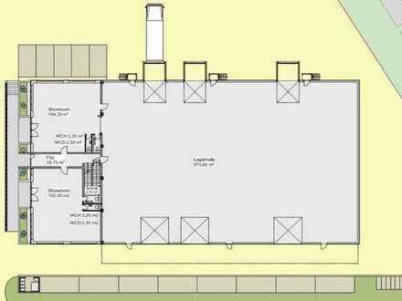 Neubauprojekt     Hallenfläche mit Büro- und Ausstellungsräume     teilbar