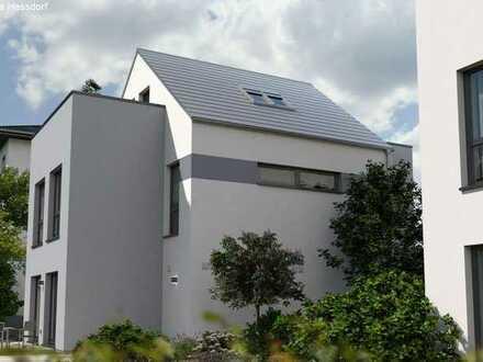 neues modernes Okal Haus am alten Kanal in Nürnberg Gartenstadt