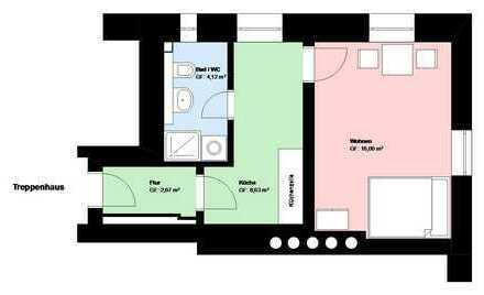 *Schwanthalerhöhe*schöne 1 Zimmer-Wohnung*sep. Küche mit EBK*Bad mit Fenster*möbliert*