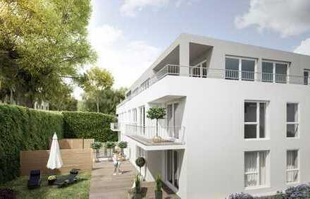 großzügig geschnittene Neubauwohnung mit Balkon ins Grüne