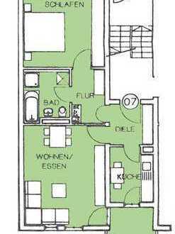 Gepflegte 2 Raum Wohnung in vollkommener Ruhe