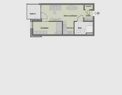 2-Zimmerwohnung im Obergeschoss für Senioren (Whg. 29)