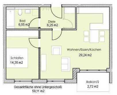 Erstbezug: helle 2,5-Zi.-Whg. mit Einbau-K., sep. Büro im KG, Süd-Balk. u. TG-Stpl. in Taufk./Vils