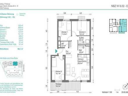 NEUBAU! Schöne 4-Zimmer-Wohnung (NBZ6.02) mit Terrasse zum begrünten Innenhof