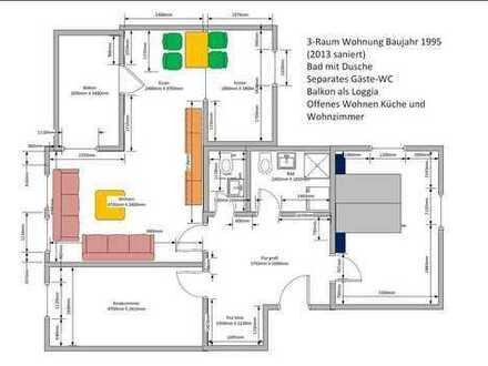 Schöne helle Dreizimmer Wohnung in ruhiger Lage, in Plauen Reusa zu verkaufen