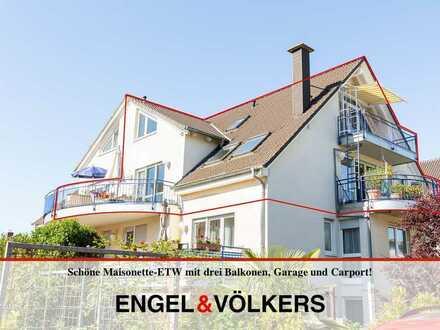 Schöne Maisonette-ETW mit drei Balkonen, Garage und Carport