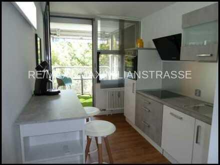 Besichtigen –mieten - einziehen! Modern möblierte 2-Zi.-Whg. mit Balkon in ruhiger, grüner Lage.