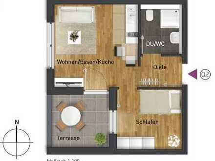 Erstbezug: stilvolle 2-Zimmer-Wohnung mit Einbauküche und Balkon in Leonberg