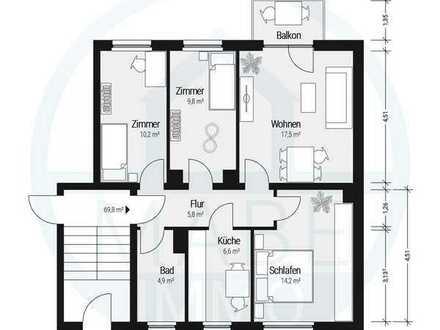 Heimelige 4 Raumwohnung mit Balkon und Gartennutzung