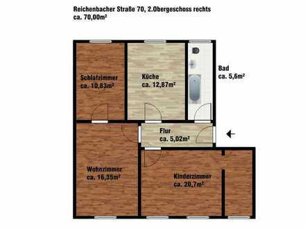 Gut geschnittene 3 Raum Etagenwohnung in Görlitz Rauschwalde